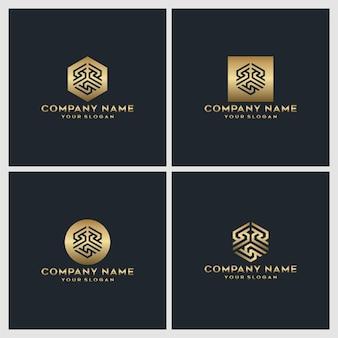 Conjunto de design de logotipo criativo da letra do monograma dourado