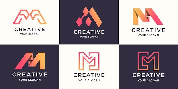 Conjunto de design de logotipo criativo da letra m