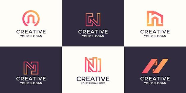 Conjunto de design de logotipo criativo da letra n