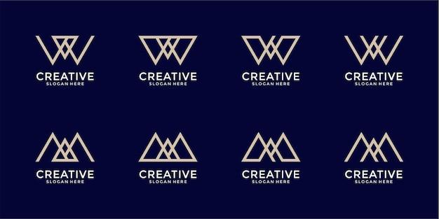 Conjunto de design de logotipo criativo de marca de letra do monograma e letra m