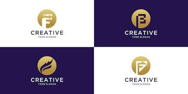 Conjunto de design de logotipo criativo letra f
