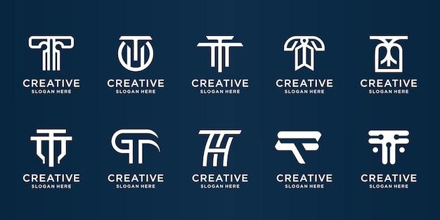 Conjunto de design de logotipo criativo letra t. vetor do logotipo da letra t inicial elegante moderno para a marca.