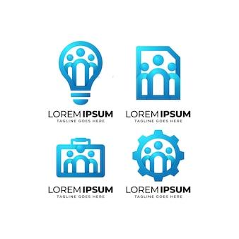 Conjunto de design de logotipo da comunidade de pessoas