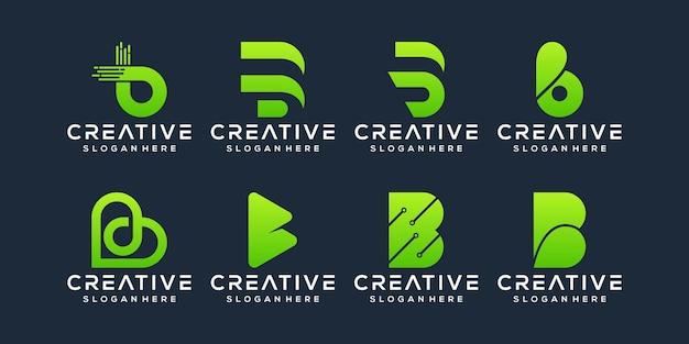 Conjunto de design de logotipo da letra b