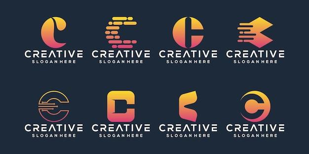 Conjunto de design de logotipo da letra c