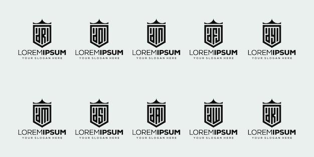 Conjunto de design de logotipo da letra d inicial