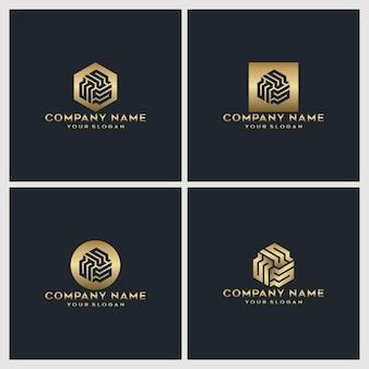 Conjunto de design de logotipo da letra do monograma criativo