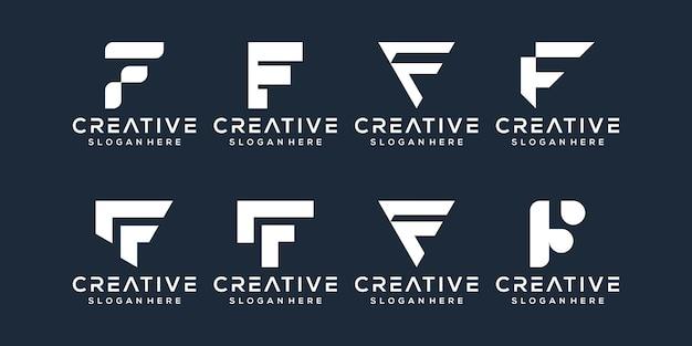 Conjunto de design de logotipo da letra f
