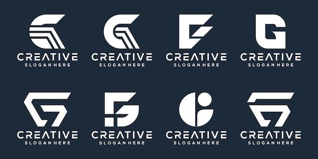 Conjunto de design de logotipo da letra g