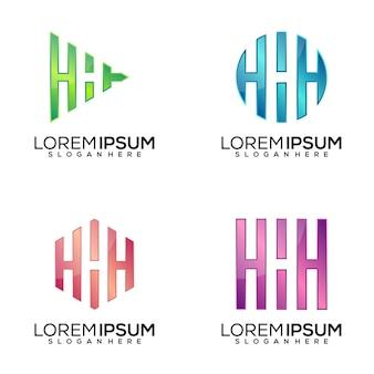 Conjunto de design de logotipo da letra h