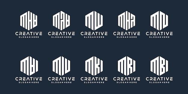 Conjunto de design de logotipo da letra m