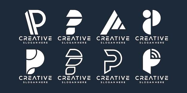 Conjunto de design de logotipo da letra p