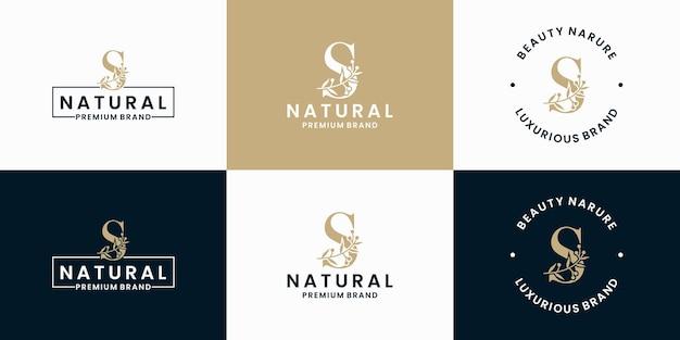 Conjunto de design de logotipo da letra s coleção floral folhagem moldura
