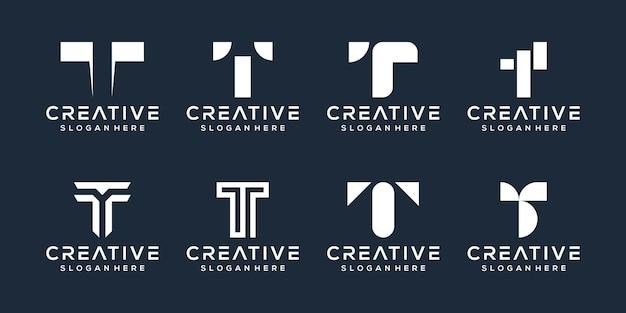 Conjunto de design de logotipo da letra t