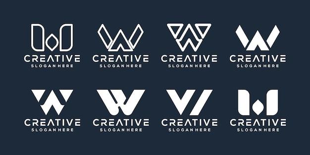Conjunto de design de logotipo da letra w