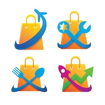 Conjunto de design de logotipo da loja