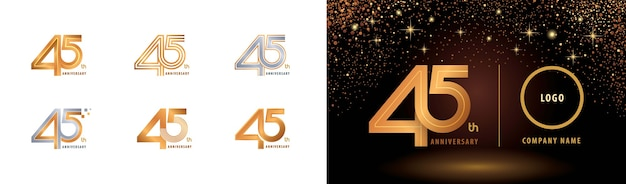 Conjunto de design de logotipo de 45º aniversário, linha múltipla de quarenta e cinco anos.