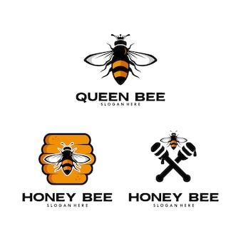 Conjunto de design de logotipo de abelha rainha e abelha de mel