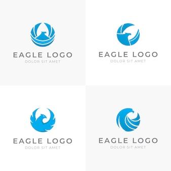 Conjunto de design de logotipo de águia azul em forma redonda