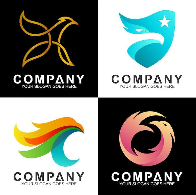 Conjunto de design de logotipo de águia