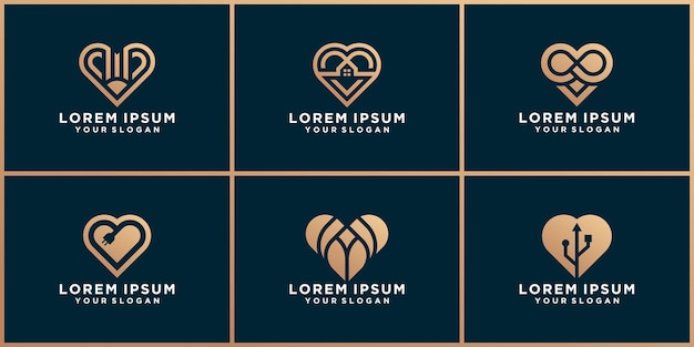 Conjunto de design de logotipo de amor