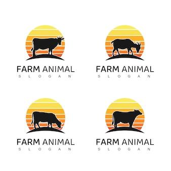 Conjunto de design de logotipo de animais de fazenda