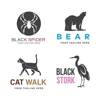 Conjunto de design de logotipo de animais