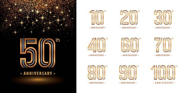 Conjunto de design de logotipo de aniversário, comemorar aniversário logotipo