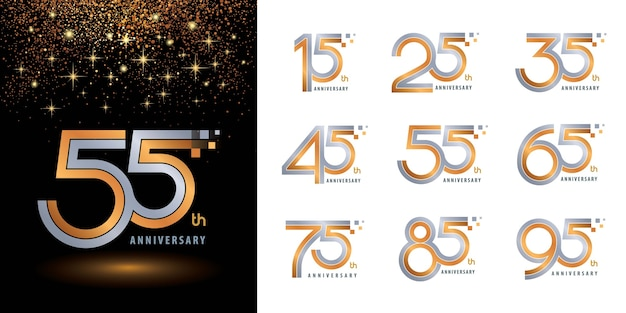 Conjunto de design de logotipo de aniversário de logotipo, logotipo de comemoração de aniversário de dois tons para parabéns