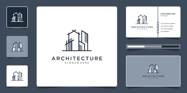 Conjunto de design de logotipo de arquitetura