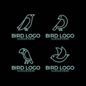 Conjunto de design de logotipo de arte linha pássaro
