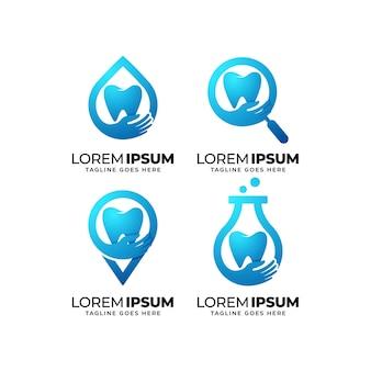 Conjunto de design de logotipo de atendimento odontológico Vetor Premium