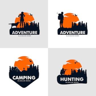 Conjunto de design de logotipo de aventura de escalada, acampamento e caça