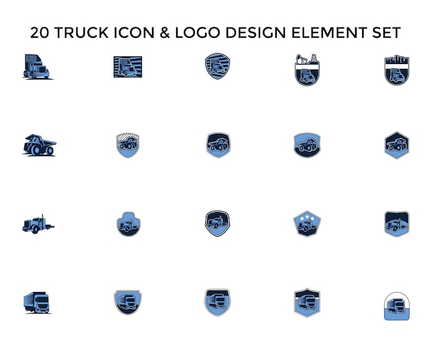 Conjunto de design de logotipo de badgeicon de caminhão