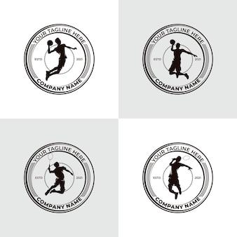 Conjunto de design de logotipo de basquete e badminton