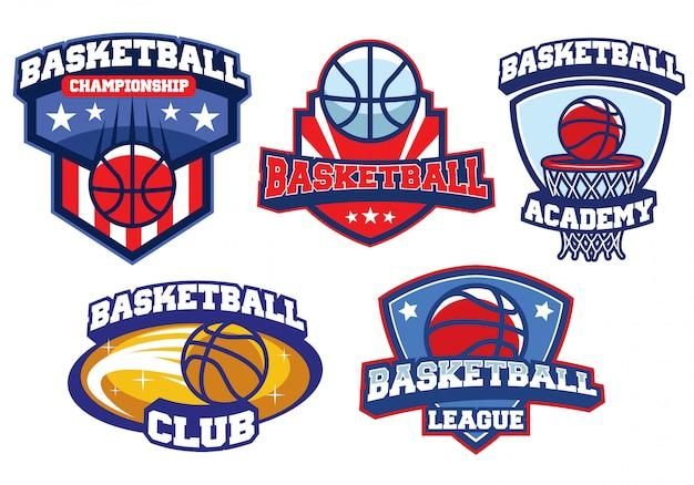 Conjunto de design de logotipo de basquete
