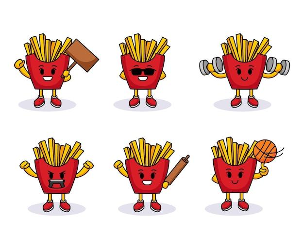 Conjunto de design de logotipo de batatas fritas fofas