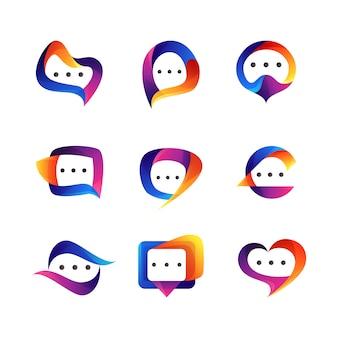 Conjunto de design de logotipo de bate-papo