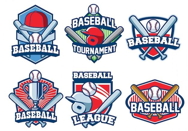 Conjunto de design de logotipo de beisebol
