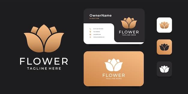 Conjunto de design de logotipo de beleza de luxo dourado e natureza