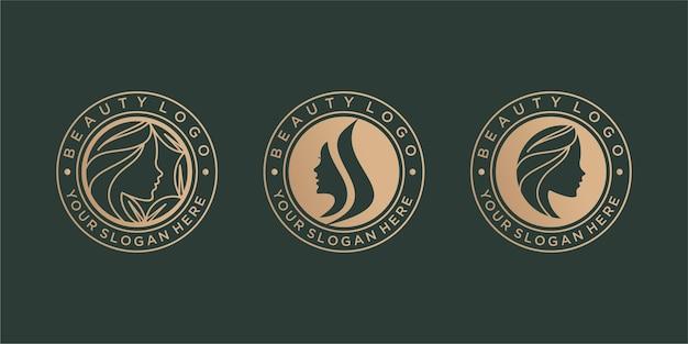 Conjunto de design de logotipo de beleza vintage