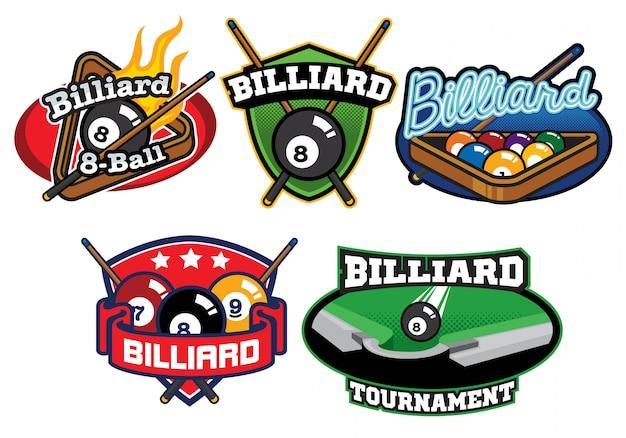 Conjunto de design de logotipo de bilhar
