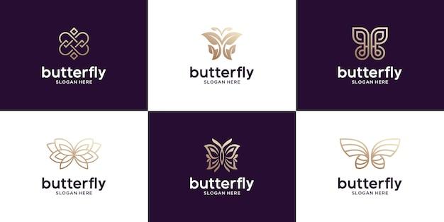 Conjunto de design de logotipo de borboleta de luxo