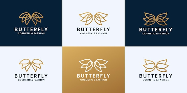 Conjunto de design de logotipo de borboleta para marca de cosméticos e moda