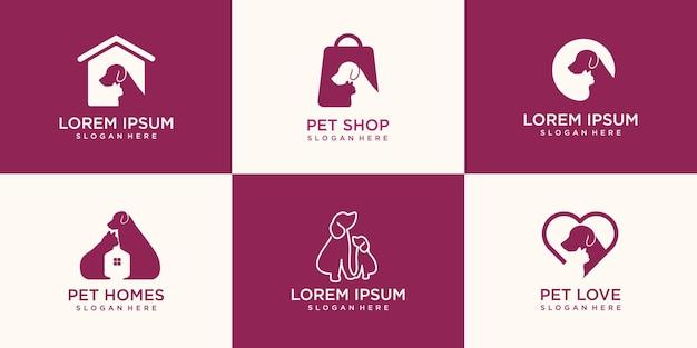 Conjunto de design de logotipo de cachorro e gato.