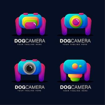 Conjunto de design de logotipo de câmera de cachorro gradiente colorido