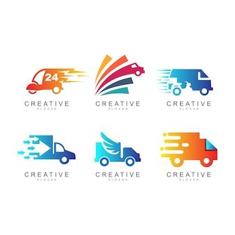 Conjunto de design de logotipo de caminhão, coleção de logotipo de caminhão