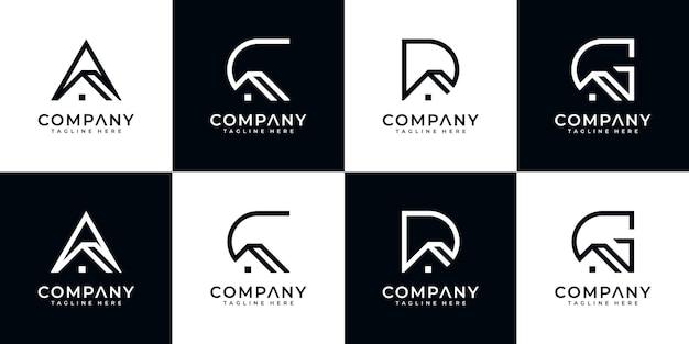 Conjunto de design de logotipo de carta de monograma abstrato criativo com modelo de estilo de casa