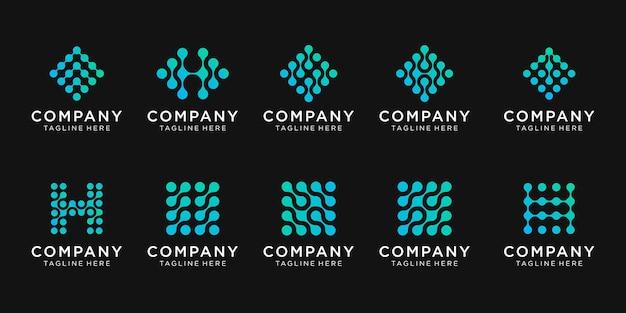 Conjunto de design de logotipo de carta de monograma para negócios