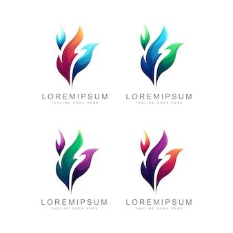 Conjunto de design de logotipo de chama colorida